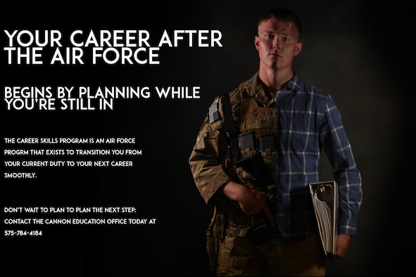 If preparing for your future outside of the Air Force feels like sorting through thousands of folders, you're doing it wrong. The Career Skills Program is a transition program for Airmen that allows them to pursure civilian job opportunities while still in the military. Airmen can participate in apprenticeships, interships job shadowing and more by reaching out to the Cannon Education Office for more information. (U.S. Air Force infographic by Senior Airman Lane T. Plummer)