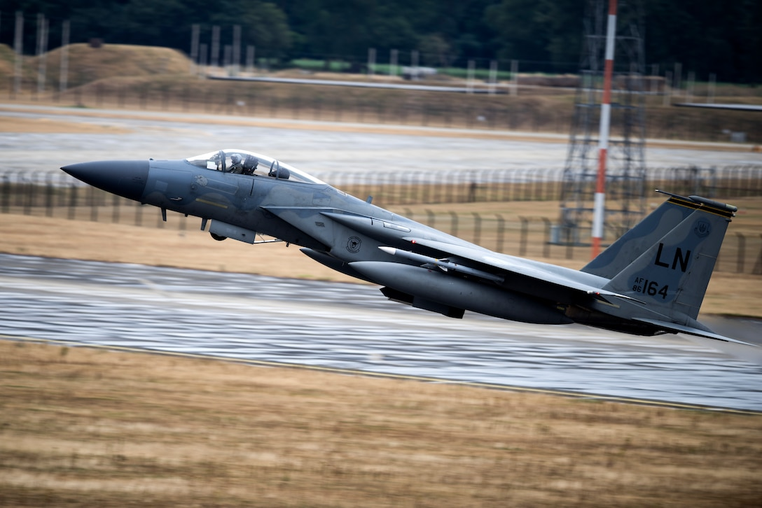 An F-15C takes-off