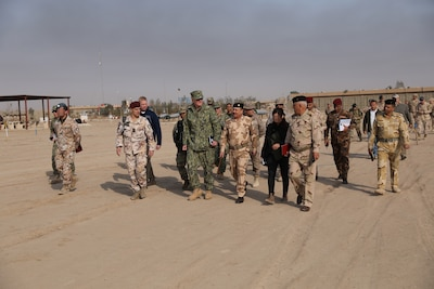 Navy Adm. James Foggo, the commander of NATO's Allied Joint Force Command, visits the Iraqi Bomb Disposal School at the Besimayah Range Complex, Iraq.