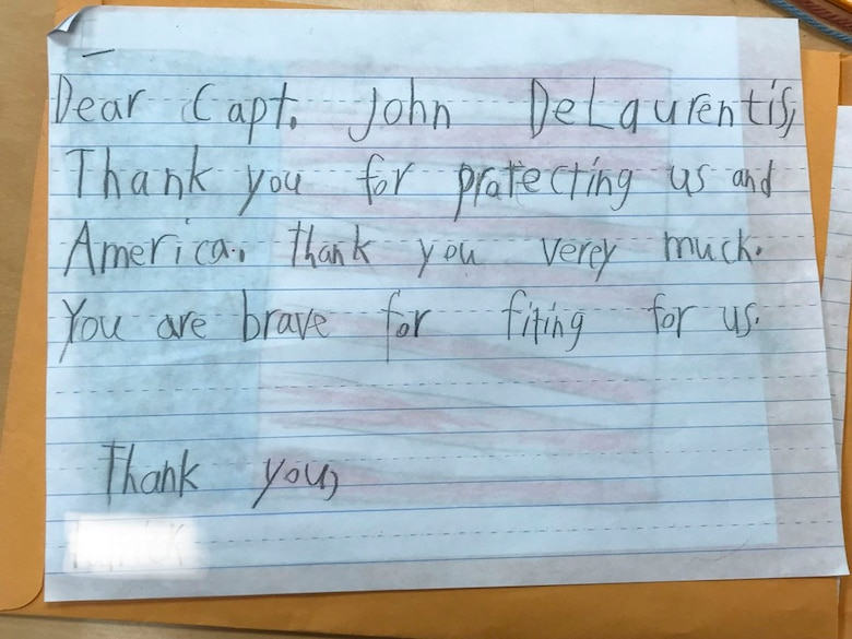 A letter written by a student at Sherman Elementary School in Roselle, New Jersey, was sent to U.S. Air Force Capt. John DeLaurentis, 363rd Intelligence, Surveillance and Reconnaissance Wing deputy director, plans and programs, to show support for his military service. Students learned about DeLaurentis during a lesson about Memorial Day and wanted to thank him by sending him letters and drawings. (Courtesy Photo)