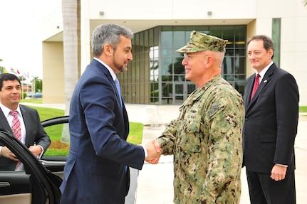 U.S. Navy Adm. Kurt Tidd greets Paraguay President-elect Mario Abdo Benitez.