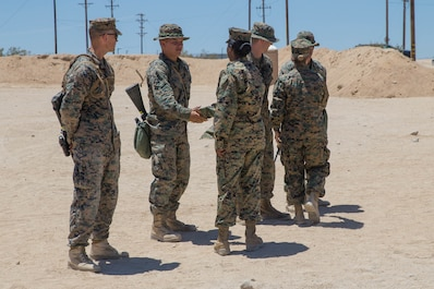 Brig. Gen. Helen G. Pratt, commanding general of 4th Marine Logistics Group, and Sgt. Maj. Lanette N. Wright, sergeant major of 4th Marine Logistics Group, visit Marines with Combat Logistics Regiment 45