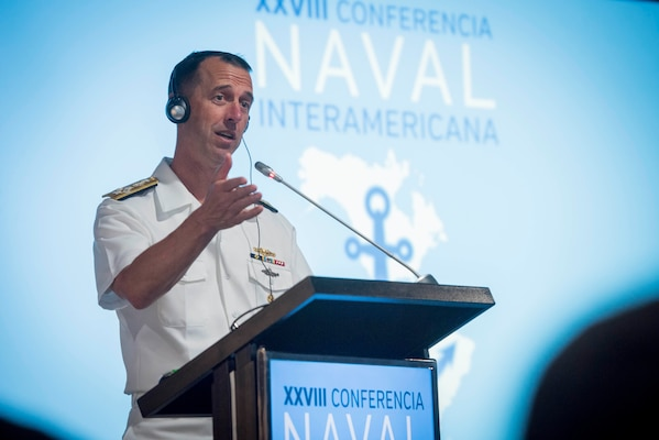The chief of naval operations delivers remarks at a conference.