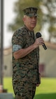 U.S. Marine Corps Lt. Gen. David H. Berger, commander of U.S. Marine Corps Forces Pacific, gives his remarks during the I Marine Expeditionary Force change of command, July 30, 2018, at Camp Pendleton, California. (U.S. Marine Corps Photo by Cpl. Jacob A. Farbo)