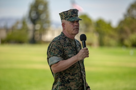 U.S. Marine Corps Lt. Gen. Joseph L. Osterman, the incoming commanding general of I Marine Expeditionary Force, makes remarks during the I MEF change of command ceremony July 30, 2018, at Camp Pendleton, California. Prior to assuming his duties as the commanding general of I MEF, Osterman served as the deputy commander of United States Special Operations Command. (U.S. Marine Corps photo by Cpl. Jacob A. Farbo)