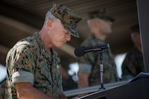U.S. Navy Capt. Dwight Horn, I Marine Expeditionary Force chaplain, gives the invocation during the I MEF change of command ceremony held at Camp Pendleton, California, July 30, 2018. During the ceremony, Lt. Gen. Lewis A. Craparotta relinquished command of I MEF to Lt. Gen. Joseph L. Osterman. (U.S. Marine Corps photo by Lance Cpl. Dalton S. Swanbeck)
