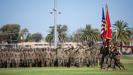 U.S. Marines with the I Marine Expeditionary Force Color Guard march on the colors during the I MEF change of command ceremony at Camp Pendleton, California, July 30, 2018. During the ceremony, Lt. Gen. Lewis A. Craparotta relinquished command of I MEF to Lt. Gen. Joseph L. Osterman. (U.S. Marine Corps photo by Lance Cpl. Dalton S. Swanbeck)