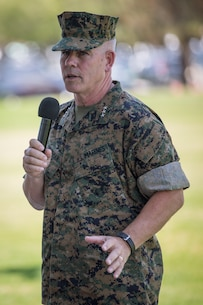 U.S. Marine Corps Lt. Gen. Joseph L. Osterman, the incoming commanding general of l Marine Expeditionary Force, makes remarks during a change of command ceremony held at Camp Pendleton, California, July 30, 2018. During the ceremony, Lt. Gen. Lewis A. Craparotta relinquished command of I MEF to Osterman. (U.S. Marine Corps photo by Lance Cpl. Dalton S. Swanbeck)