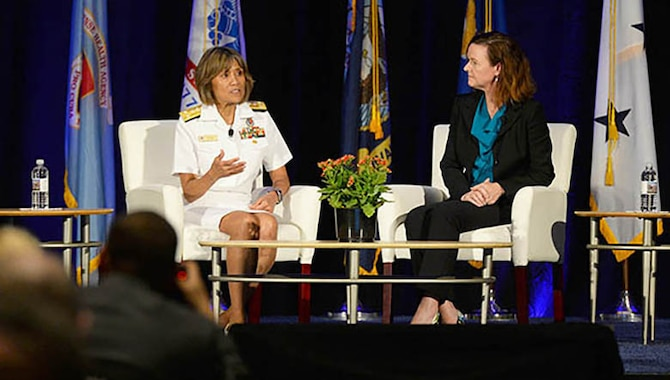 Navy Vice Adm. Raquel C. Bono, director of the Defense Health Agency, and Ms. Stacy Cummings, Program Executive Officer for Defense Health Management Systems, answer questions about the progress of MHS GENESIS electronic Health record during the 2018 Defense Health Information Technology Symposium in Orlando, Florida, July 24, 2018. (Military Health System Communications Office photo)