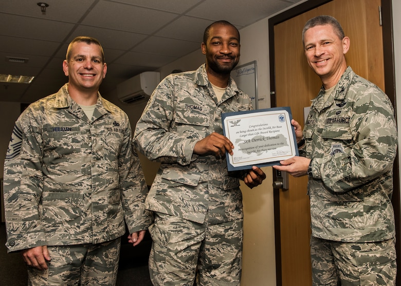 Congratulations to U.S. Air Force Senior Airman Derrick Thomas, 39th Security Forces Squadron vehicle control officer, for winning the permanent party Larger Than Life Award at Incirlik Air Base, Turkey, July 31, 2018.