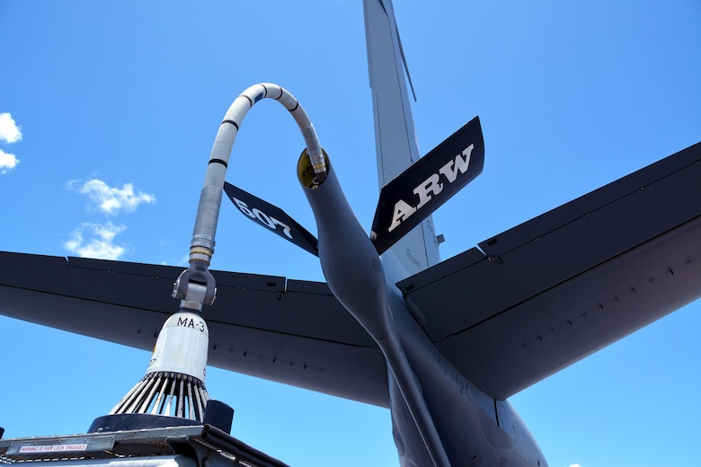 A KC-135R Stratotanker from the 507th Air Refueling Wing, Tinker Air Force Base, Oklahoma, is prepped for flight with a hose-and-drogue attached to the refueling boom July 9, in support of the Rim of the Pacific (RIMPAC) exercise. Twenty-five nations, 46 ships, five submarines, and about 200 aircraft and 25,000 personnel are participating in RIMPAC from June 27 to Aug. 2 in and around the Hawaiian Islands and Southern California. The world's largest international maritime exercise, RIMPAC provides a unique training opportunity while fostering and sustaining cooperative relationships among participants critical to ensuring the safety of sea lanes and security of the world's oceans. RIMPAC 2018 is the 26th exercise in the series that began in 1971. (U.S. Air Force photo by Tech. Sgt. Samantha Mathison)