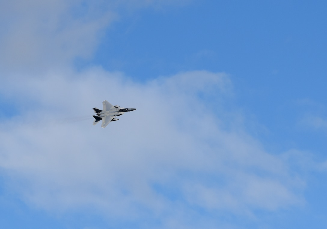 An F-15C Eagle assigned to the 493rd Expeditionary Fighter Squadron flies over Keflavik Air Base, Iceland, July 30, 2018 in support of NATO's Icelandic Air Surveillance mission. The United States has been participating in this IAS mission since 2008, and routinely trains with its European counterparts. (U.S. Air Force photo/ Staff Sgt. Alex Fox Echols III)