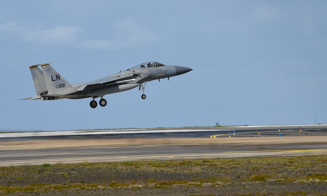 An F-15C Eagle assigned to the 493rd Expeditionary Fighter Squadron prepares to land at Keflavik Air Base, Iceland, July 30, 2018 in support of NATO's Icelandic Air Surveillance mission. The transatlantic strategic relationship between the U.S. and its European allies and partners has been forged over the past seven decades, and it is built on a foundation of shared values, experiences, and vision. (U.S. Air Force photo/ Staff Sgt. Alex Fox Echols III)