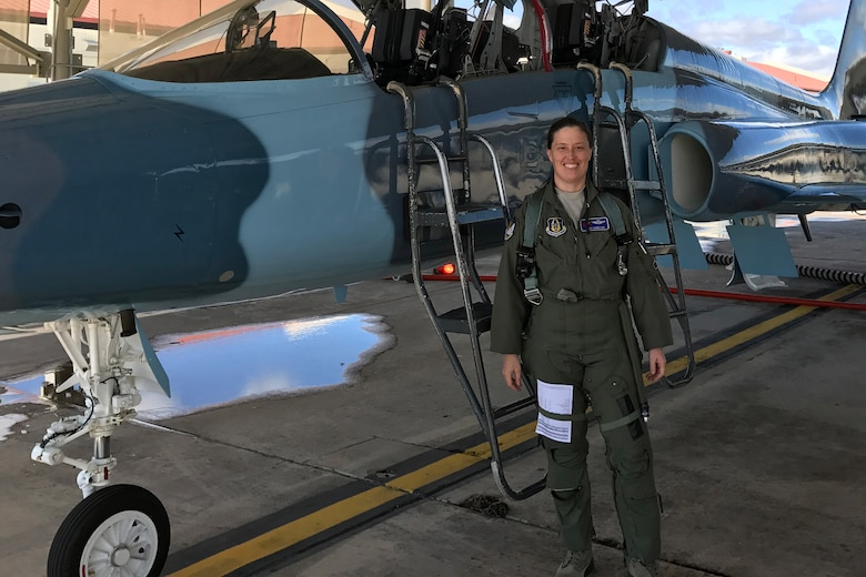 Col. Courtney Hamilton, 307th Bomb Wing vice-commander, stands outside a T-38 Talon Feb. 14, 2018.  Hamilton made the transition to the bomber community after 18 years as an F-15 Eagle fighter pilot and a T-38 instructor pilot.  (courtesy photo)