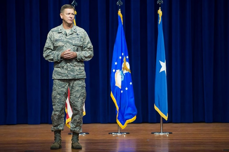Brig. Gen. Wayne Monteith, commander of the 45th Space Wing, addresses Airmen, July 31, 2018 at the Sharkatorium on Patrick Air Force Base, Fla. Monteith drove the initiative to eliminate seams between groups and squadrons, making the 45th SW more efficient. (U.S. Air Force photo by Phillip Sunkel)