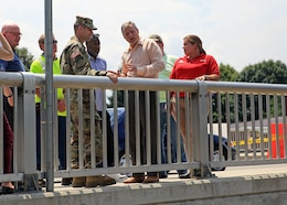 Col. John Litz, U.S. Army Corps of Engineers, Baltimore District commander, speaks with Michael Helfrich, mayor of York, Pennsylvania, following the collapse of a section of channel wall along Codorus Creek immediately upstream of the Philadelphia Street Bridge in York, July 27, 2018. (U.S. Army photo by David Gray)