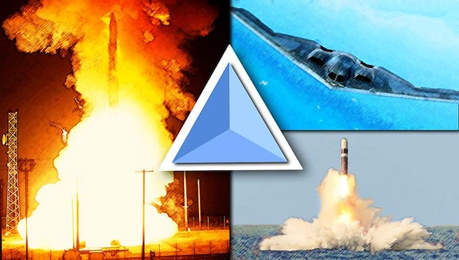 Three images with rockets with a triangle in the middle