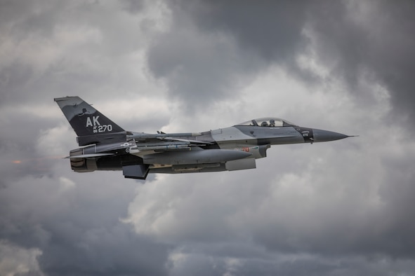An F-16 Fighting Falcon assigned to the 18th Aggressor Squadron, Eielson Air Force Base, Alaska takes off prior to a sortie as part of Red Flag-Alaska 18-2, June 11, 2018. Red Flag Alaska provides large force employment training in a simulated combat environment. (U.S. Air National Guard photo by Tech. Sgt. John Winn)