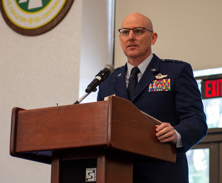 Maj. Gen. Sam Barrett, 18th Air Force Commander, speaks to the audience during the 18th AF Change of Command Ceremony July 31, at Scott Air Force Base, Ill. Barrett comes to 18 AF from his position as the Director of operations, Strategic Deterrence and Nuclear Integration, Headquarters Air Mobility Command, Scott AFB. (U.S. Air Force photo by Airman 1st Class Chad Gorecki)