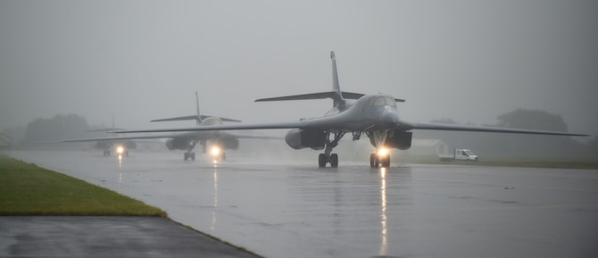 Three U.S. Air Force B-1B Lancers assigned to the 345th Bomb Squadron at Dyess Air Force Base, Texas, arrive at RAF Fairford, U.K., in support of NATO cross-servicing exercises in Europe, May 30, 2018. The 345th BS's presence in Europe allows Dyess Airmen to work with U.S. allies to develop and improve ready air forces capable of maintaining regional stability. Bomber missions demonstrate the credibility and flexibility of our forces to address a broad range of global challenges. (U.S. Air Force photo by Senior Airman Emily Copeland)