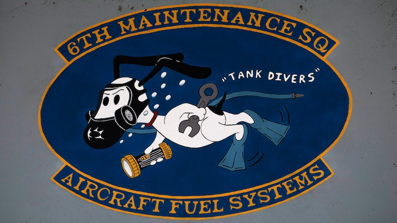 An emblem painted onto 6th Maintenance Squadron's aircraft fuel systems hangar at MacDill Air Force Base, Fla., May 30, 2018.