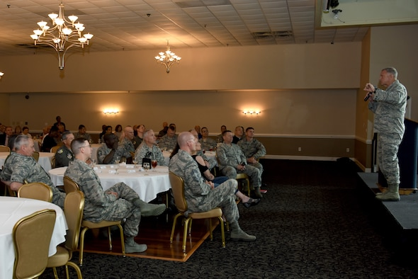 Brig. Gen. Steven A. Shaick, Air Force deputy chief of chaplains, addresses the crowd during the National Prayer Luncheon, May 30, 2018, at Seymour Johnson Air Force Base, North Carolina. Shaick assists the Chief of Chaplains in establishing guidance on all matters pertaining to religious and moral welfare of Air Force personnel. (U.S. Air Force photo by Airman 1st Class Miranda A. Loera)