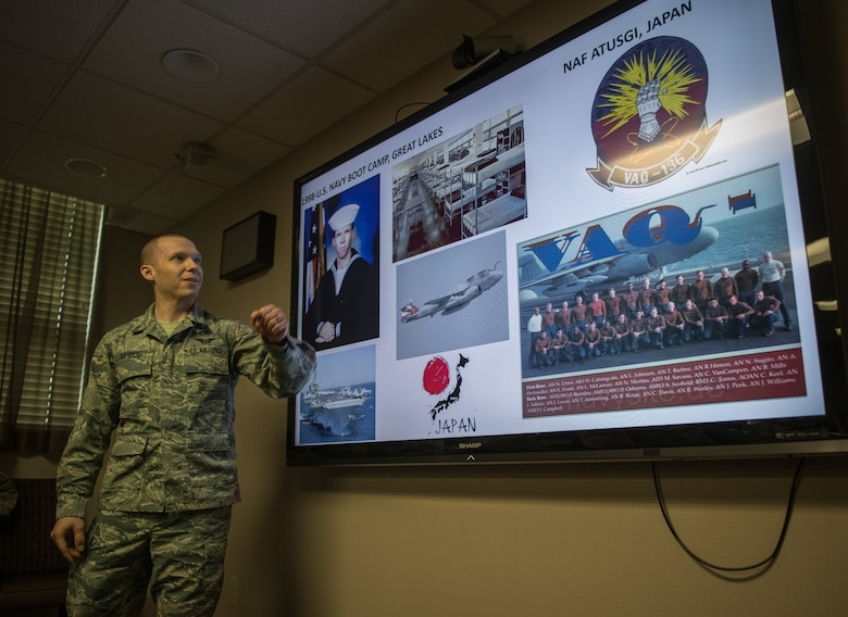 Tech. Sgt. Timothy Barbee shares his Airman's Story with 932nd Airlift Wing leadership during the monthly Wing Review.
