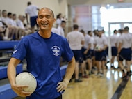 Master Sgt. Jonathan Baysa, 57th Operations Group first sergeant, takes part in a volleyball game with Airmen graduating from the Airmen Leadership School at the Warrior Fitness Center on Nellis Air Force Base, Nevada, May 9, 2018. The volleyball game is one of many activities first shirts engage in to boost morale. (U.S. Air Force photo by Airman Bailee A. Darbasie)