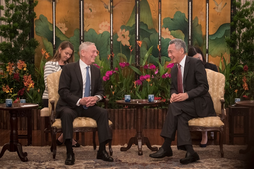Defense Secretary James N. Mattis meets with the Singaporean prime minister.