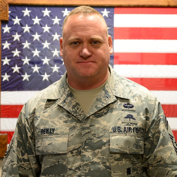 Chief Master Sgt. Bradley Reilly, 14th Operations Group superintendent, Jan. 1, 2018, on Columbus Air Force Base, Mississippi.