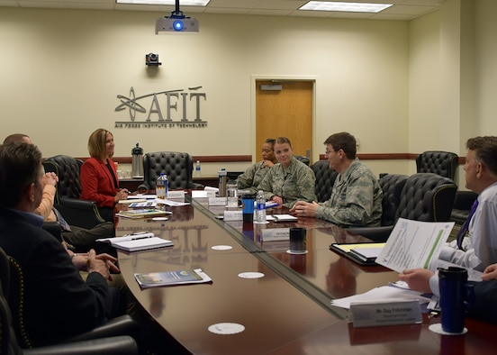 HQ AETC's Continuum of Learning Engagement Team, Mrs. Shelly Petruska, Capt. Renee Cassidy and Lt. Jacqueline Crow, led a small group discussion with AFIT's School of Systems and Logistics, Wright Patterson Air Force Base, Ohio, May 1, 2018.  The CoL engagement team is traveling to all AETC units to educate the command on CoL initiatives, and collect best practices, challenges and innovative ideas for CoL across the Air Force.