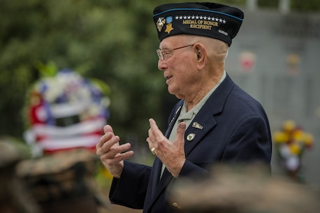 "Retired U.S. Marine Corps Chief Warrant Officer 4 Hershel ""Woody"" Williams, the last surviving Medal of Honor recipient of the battle of Iwo Jima, speaks to Marines during his visit to the 5th Marine Regiment Vietnam War Memorial at Marine Corps Base Camp Pendleton, Calif., May 29, 2018."