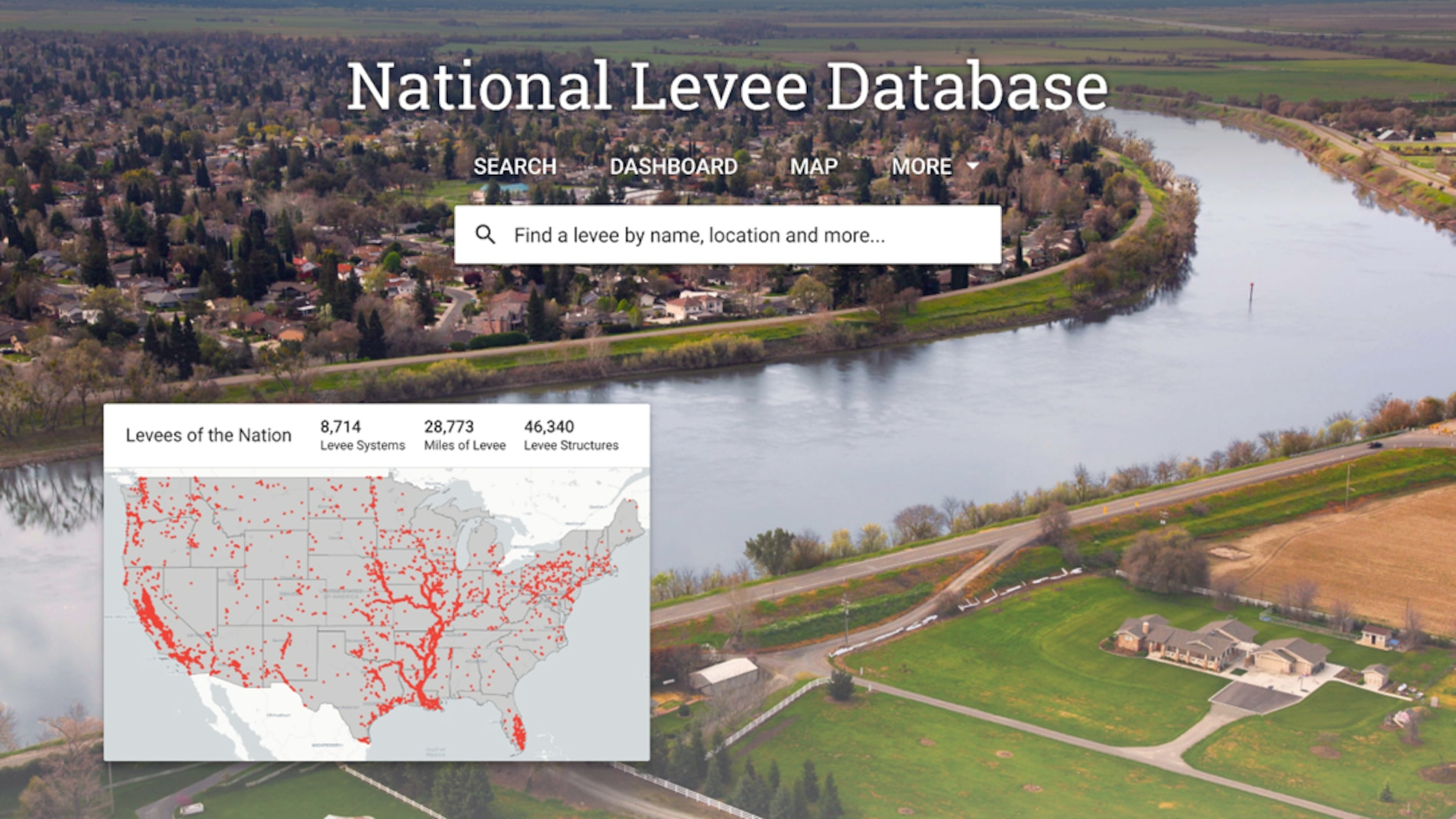 """The National Levee Database is a public view into the information that builds understanding of the benefits and potential risks levees pose for the communities in which they exist,"" said Eric C. Halpin, P.E., USACE deputy dam and levee safety officer."