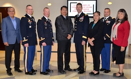 (l-r): Garrett Silversmith, director, Navajo Nation Department of Transportation; Lt. Col. James Booth, Albuquerque District commander; Col. Kirk Gibbs, Los Angeles District commander; Jonathan Nez, vice-president, Navajo Nation; Brig. Gen. Peter Helmlinger, South Pacific Division commander; Clara Pratte, Navajo Nation chief of staff; Col. David Ray, Sacramento District commander; Bidtah Becker, director, Navajo Nation Department of Natural Resources, April 23, 2018.