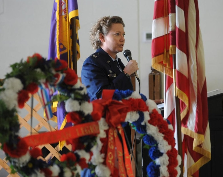 USAFSIA Commander, Col. Amy Bumgarner delivers the keynote address during the Glynn County, Ga., Memorial Day Event May 28, 2018. She encouraged attendees to use Memorial Day to pay their respects to those no longer with us by living their lives in service to their fellow citizens. (Photo by Michael Hall/The Brunswick News)