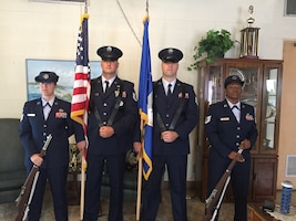 USAFSIA Color Guard, left to right, SA Jessica Goins, SA Nathan Farber, Tech. Sgt. Tyson Andersen and SA Tamisha Turner presented the colors to open the Glynn County, Ga., Memorial Day Ceremony May 28. 2018. (Photo courtesy of USAFSIA)