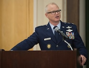 Maj. Gen. Chris Weggeman, Air Forces Cyber commander, speaks to attendees at Brig. Gen. Mitchel Butikofer's, AFCYBER vice commander, retirement ceremony at Joint Base San Antonio-Lackland, Texas, June 1, 2018. Butikofer retired after 29 years of service. (U.S. Air Force photo by Tech. Sgt. R.J. Biermann)