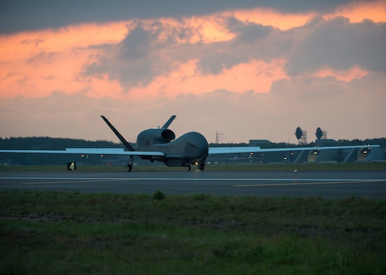 An RQ-4 Global Hawk, assigned to the 69th Reconnaissance Group, Detachment 1, Andersen Air Force Base, Guam, lands at Misawa Air Base, Japan, June 1, 2018, for a temporary intra-theater routine deployment.