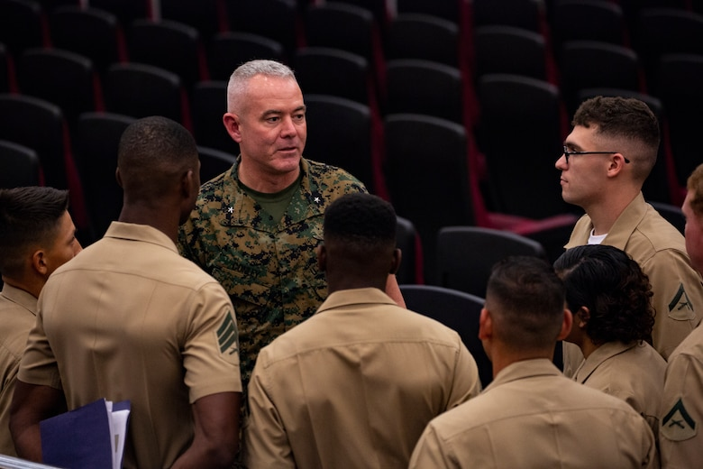 Brig. Gen. Daniel B. Conley, commanding general of 3rd Marine Logistics Group, speaks to a group of his Marines before a transfer of command ceremony June 1, 2018 at Camp Foster, Okinawa, Japan. Conley passed command of 3rd MLG to Col. Ronald C. Braney, commanding officer of 3rd MLG, during the ceremony. Conley is a native of Falmouth, Massachusetts. Braney is a native of Manlius, New York. (U.S. Marine Corps photo by Cpl. Joshua Pinkney)