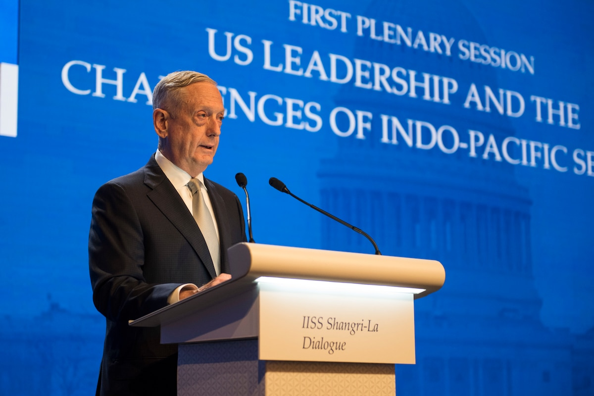 Defense Secretary James N. Mattis delivers remarks during the opening session of the Shangri-La Dialogue.