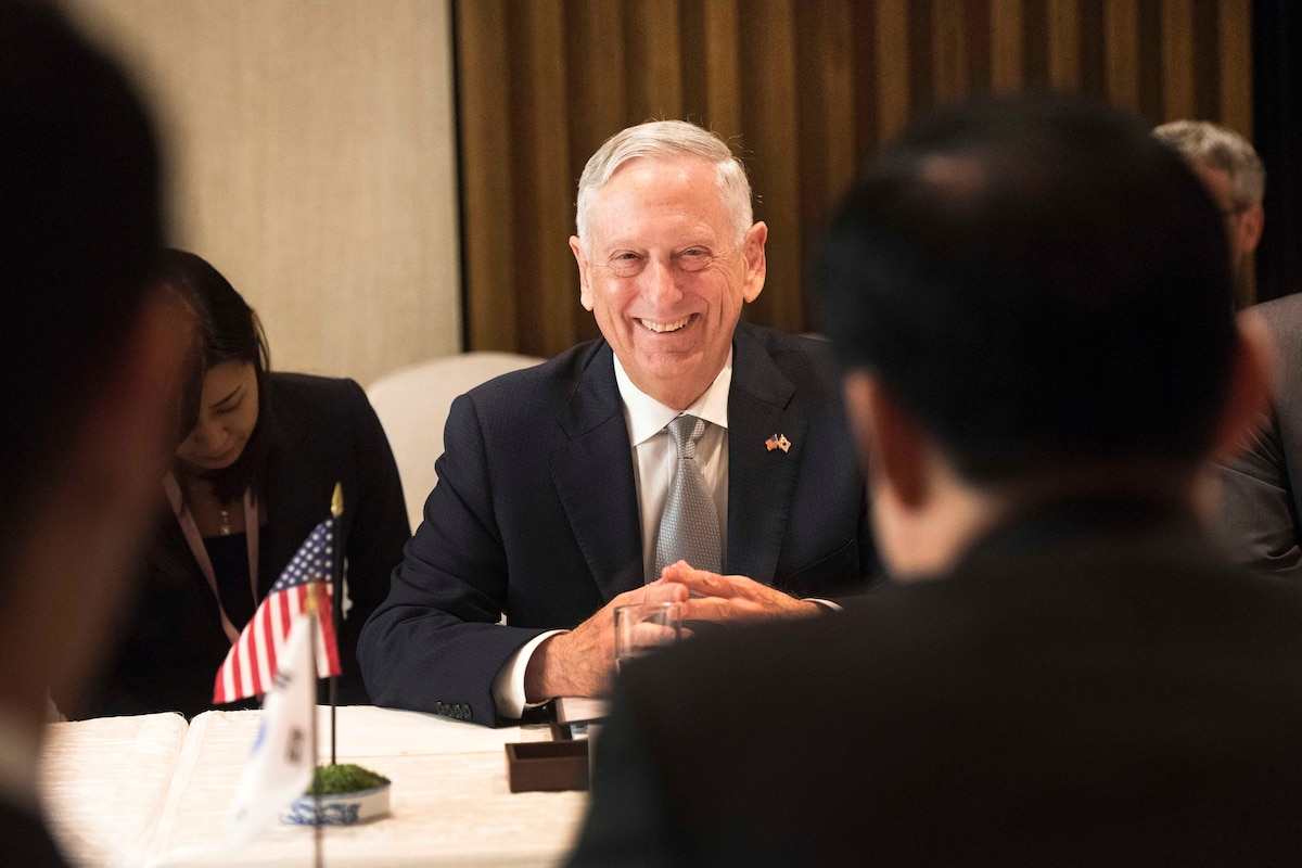 Defense Secretary James N. Mattis meets with South Korean Defense Minister Song Young-moo.