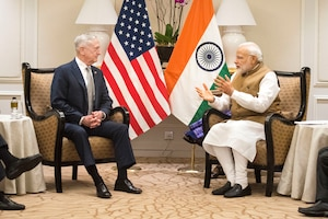 Defense Secretary James N. Mattis meets with Indian Prime Minister Narendra Modi at the Fullerton Hotel in Shangri-La, Singapore, June 2, 2018. The two met to discuss enduring partnerships during the Shangri-La Dialogue. Mattis met with several Indo-Pacific regional leaders to discuss regional security issues over the course of the Singapore summit. DoD photo by Air Force Tech Sgt. Vernon Young Jr.