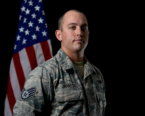 Staff Sgt. Justin Jarrett, a Reserve Citizen Airmen with the 507th Security Forces Squadron, stands for a photo May 10, 2018, at Tinker Air Force Base, Okla.As a civilian police officer, Jarrett received a Life Saver Award from the Oklahoma City Police Department in May 2018 for administering life-saving CPR to a local citizen in December 2017. (U.S. Air Force photo/Tech. Sgt. Samantha Mathison)