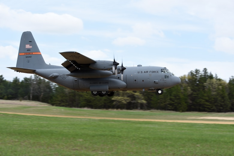 A C-130 Hercules from the 182nd Airlift Wing, Illinois Air National Guard, lands at Young Landing Zone at Fort McCoy, Wis. May 14, 2018. A number of pilots were qualifying to complete their unimproved landing certification. (U.S. Air National Guard photo by Master Sgt. Todd A. Pendleton)