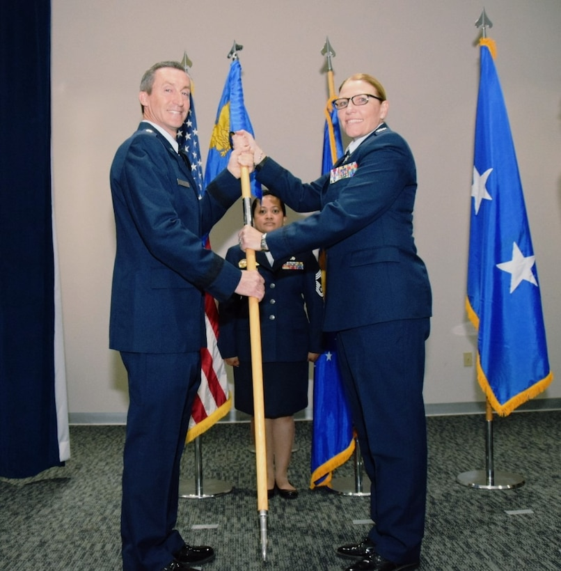 Reserve Citizen Airmen assigned to the 960th Cyberspace Operations Group witnessed a change of command during a ceremony at Joint Base San Antonio-Lackland, June 2.