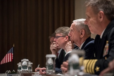 Defense Secretary James N. Mattis meets with Australian Minister of Defense Marise Payne and Japanese Minister of Defense Itsunori Onodera at the 2018 International Institute for Strategic Studies Shangri-La Dialogue in Singapore, June 2, 2018. Over the past two days at the summit, Mattis has met with several regional leaders to build upon partnerships and discuss defense strategies. DoD photo by Air Force Tech Sgt. Vernon Young Jr.