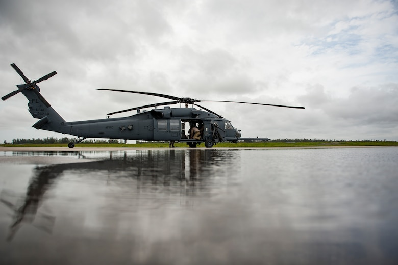 U.S. Air Force assigned to the the 920th Rescue Wing, Air Force Reserve, out of Patrick Air Force Base in Cocoa Beach, Florida, prepare an HH-60G Pave Hawk helicopter for flight May 27, 2018 during the 2nd annual Salute to American Heroes Air and Sea Show in Miami. This two-day event showcases military fighter jets and other aircraft and equipment from all branches of the United States military in observance of Memorial Day, honoring servicemembers who have made the ultimate sacrifice. (U.S. Air Force photo by Staff Sgt. Jared Trimarchi)