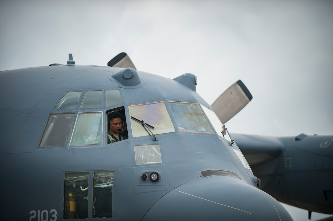 "Air Force Reserve  Maj. Chris Ferrara, 39th Rescue Squadron pilot from Patrick Air Force Base in Cocoa Beach, Florida, performs a preflight inspection of an HC-130- P/N ""King"" on May 25th, 2018, at Miami, before a practice run for the 2nd annual Salute to American Heroes Air and Sea Show. This two-day event showcases military fighter jets and other aircraft and equipment from all branches of the United States military in observance of Memorial Day, honoring servicemembers who have made the ultimate sacrifice. (U.S. Air Force photo/Staff Sgt. Jared Trimarchi)"