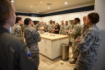 Orientation given in kitchen of the Fisher House for Families of the Fallen.