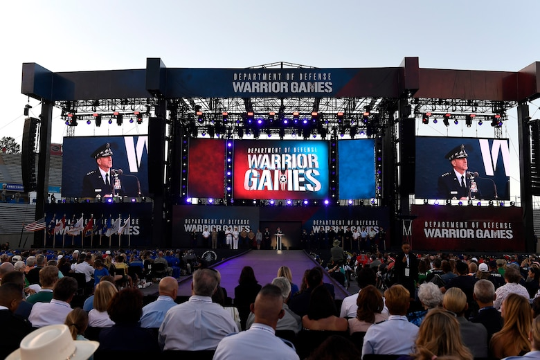 Chief of Staff of the Air Force Gen. David L. Goldfein speaks during the opening ceremony of the Department of Defense Warrior Games at the Air Force Academy in Colorado Springs, Colorado, June 2, 2018. First held in Colorado Springs in 2010, the Warrior Games were established as a way to enhance the recovery and rehabilitation of wounded, ill, and injured service members and expose them to adaptive sports. This year, the Games have returned to Colorado Springs, with the Air Force acting as the host service. (U.S. Air Force photo by Staff Sgt. Rusty Frank)